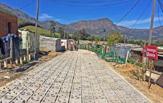 Terracrete hard lawn paver blocks were installed at Langrug informal settlement near Franschhoek.