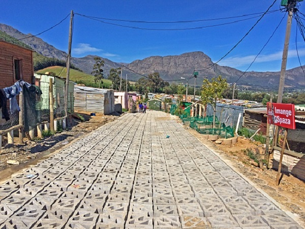 Terracrete hard lawn paver blocks were installed at Langrug informal settlement near Franschhoek.