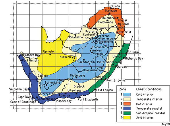 The six climate zones of South Africa. Image: TIPSASA