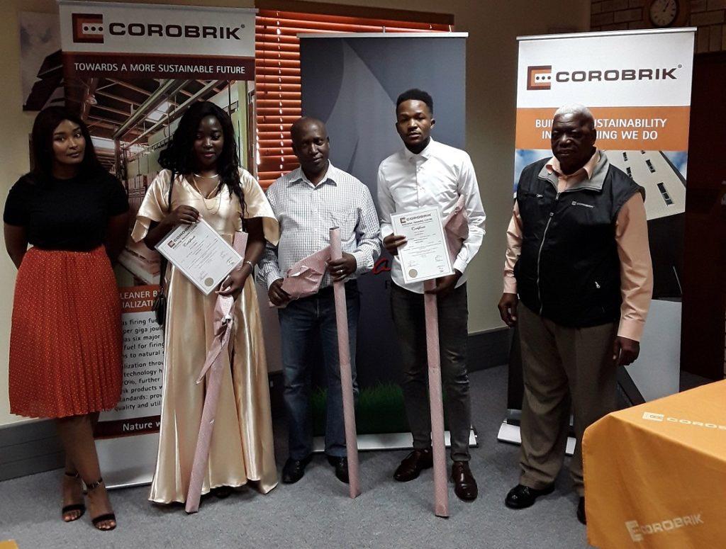Best Performance Students: from left, Cindy Mkhize foundation assistant at the Balwin Foundation; Mbali Banda, student; Muzikayifani Gedeza, student; Siphosenkosi Sityata. Image credit: Corobrik