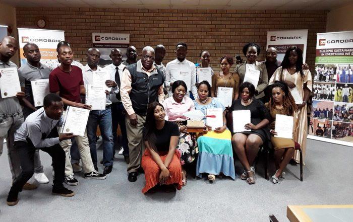 Graduation students: from left, Tholumusa Gumede, Thando Biyela, Thamsanqa Nzuza, Muzikayifani Gedeza, Thamsanqa Sibisi, Sithabiso Mlambo, Derrick Dimba (Building School Co-ordinator), Ntokozo Malinga, Siphosenkosi Sityata, Nandipha Mdzanga, Gugu Mkwanazi, Gladys Dube, Mbali Banda, Berkley Petty, Corobrik Human Resources Training & Development Manager, Lindokuhle Mdunge, Philani Msindo, Mandla Ntuli, Thembeka Mpanza, Cindy Mkhize Balwin Foundation Assistant, Zimbili Mkhize, Pretty Zulu, Mbalenhle Mkhize, Mumsy Chonco, Balwin catering lady and Sthembile Mthembu Balwin cleaning lady. Image credit: Image credit: Corobrik