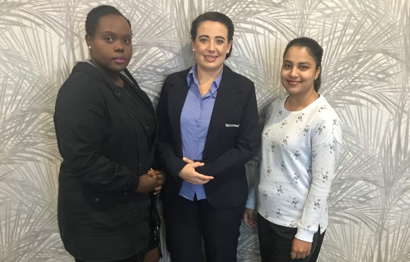Junior engineer Moreblessing Chipango, Engineering draftsperson, Miché Van Rensburg, and Engineer-in-training, Davina Ramadhin, are creating a spark in the industry. Image credit: Norconsult Iyanda