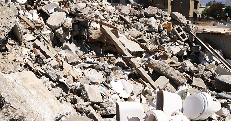 One third of all landfills worldwide are construction waste. Credit: The Californian