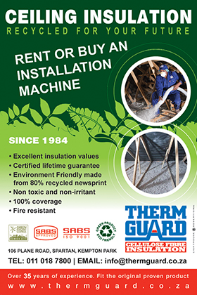 THERMGUARD is an established and trusted thermal insulation product manufactured in South Africa. Since production began in 1984, THERMGUARD has been successfully insulating buildings for 33 years in households and industry, countrywide. It is truly the tried and tested frontrunner, eco-friendly product that has stood the test of time.