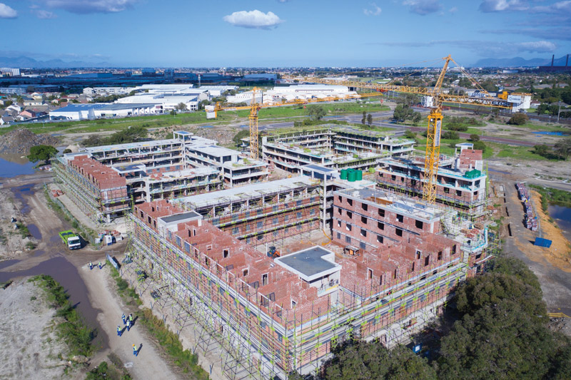 Current works on site progressing well with the rental stock units. Image by Concor