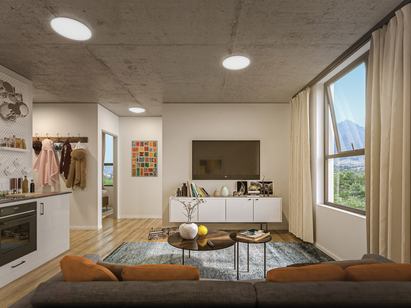 An artist's impression inside one of the units with plenty of light and views. Image by Concor